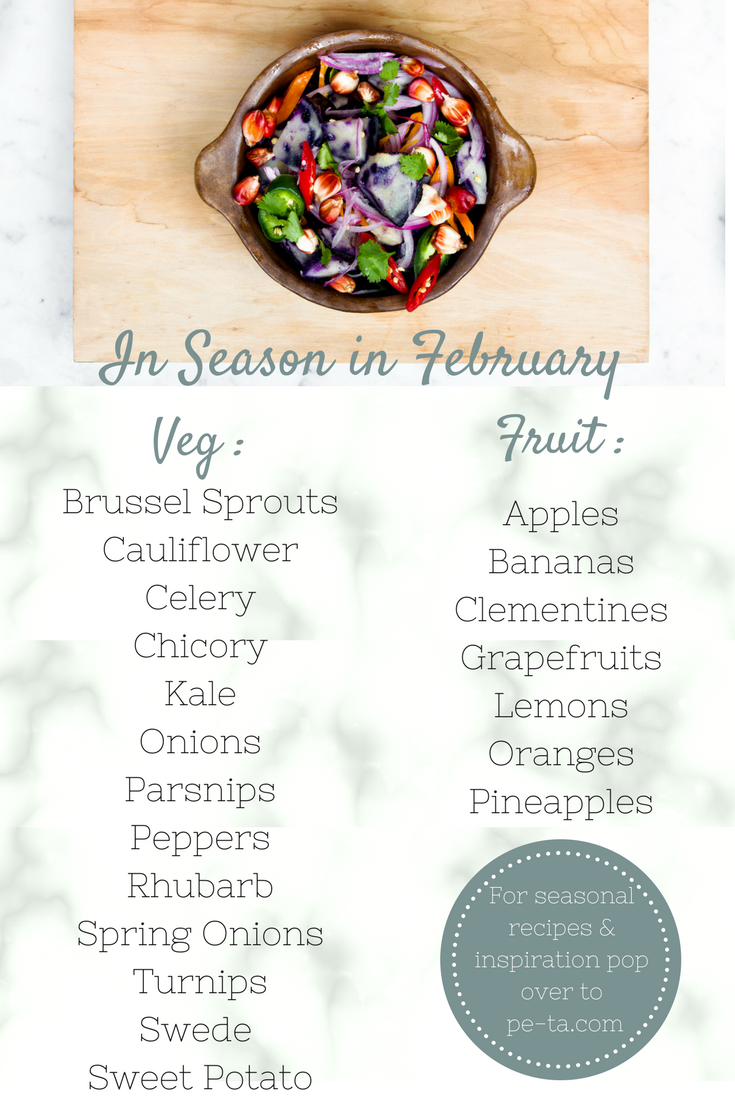 February In Season Fruit and Vegetables List