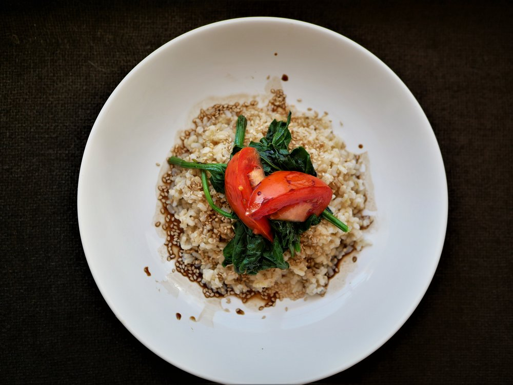 rice with spinach and tomato