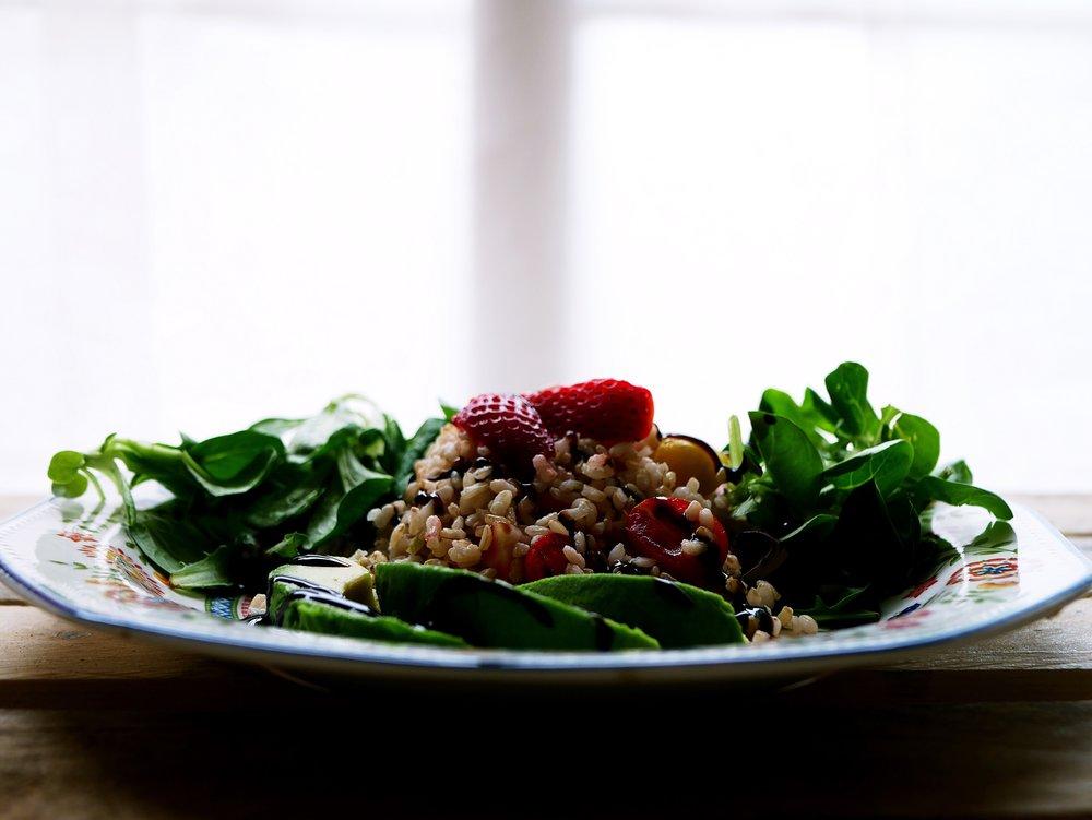 rice salad on lettuce