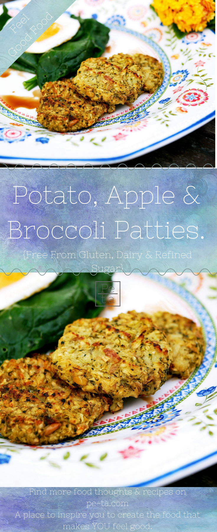 Potato, broccoli and apple patties.