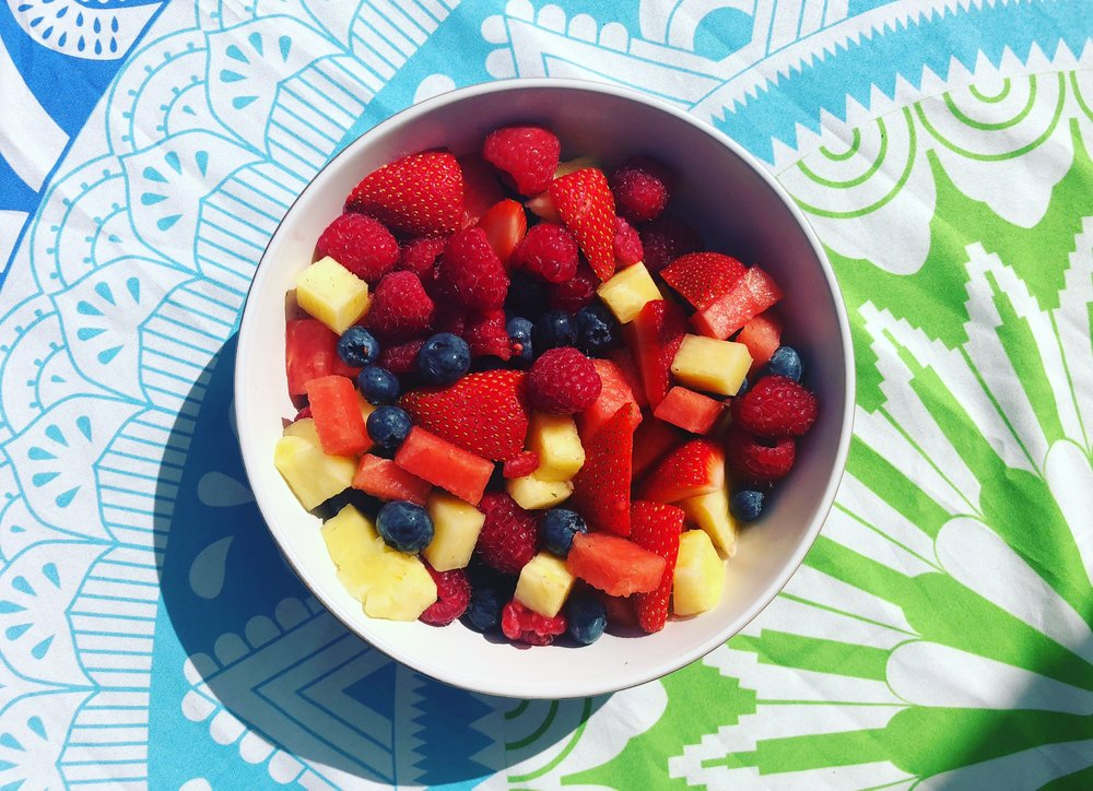 My favourite go-to snack is a bowl of fruit. I love it for energy, colour, it's whole, real food and just generally good mood food 😍🌈😋 - Lara Crowther -  Fill The Whole