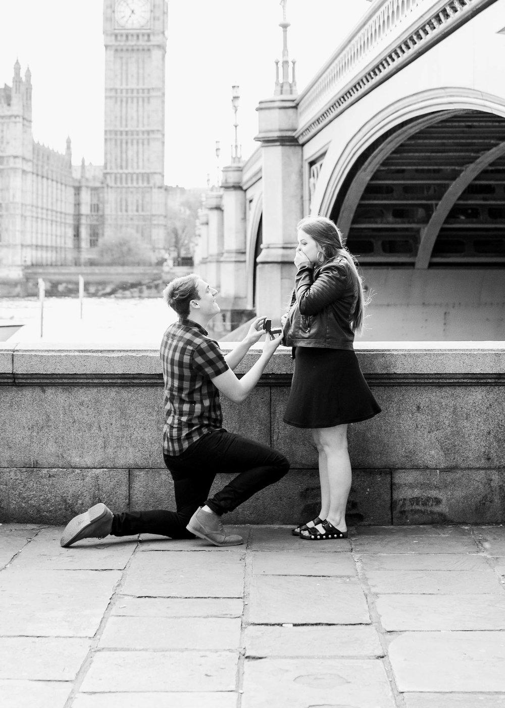 Amy O'Boyle Photography- Destination & UK Fine Art Film Wedding Photographer- London Proposal- Westminster Bridge Big Ben Engagement Shoot-16.jpg