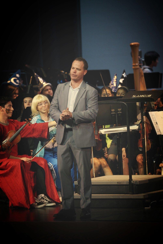 Matt emcees an orchestral concert