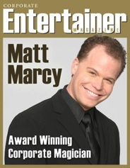 On the cover of Corporate Entertainer Magazine