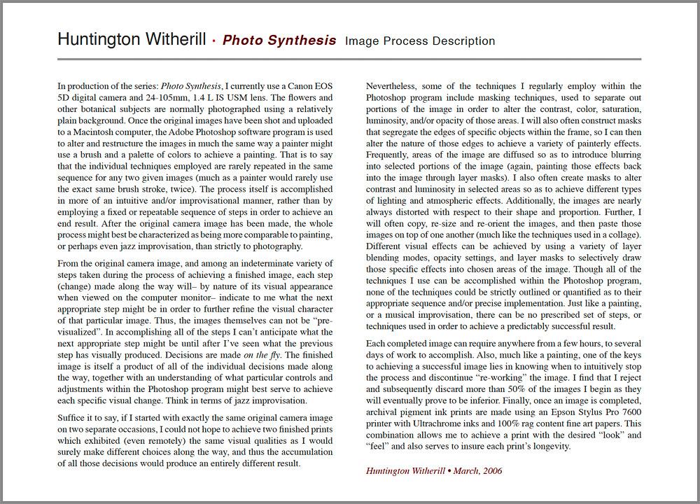Photo Synthesis Process Description