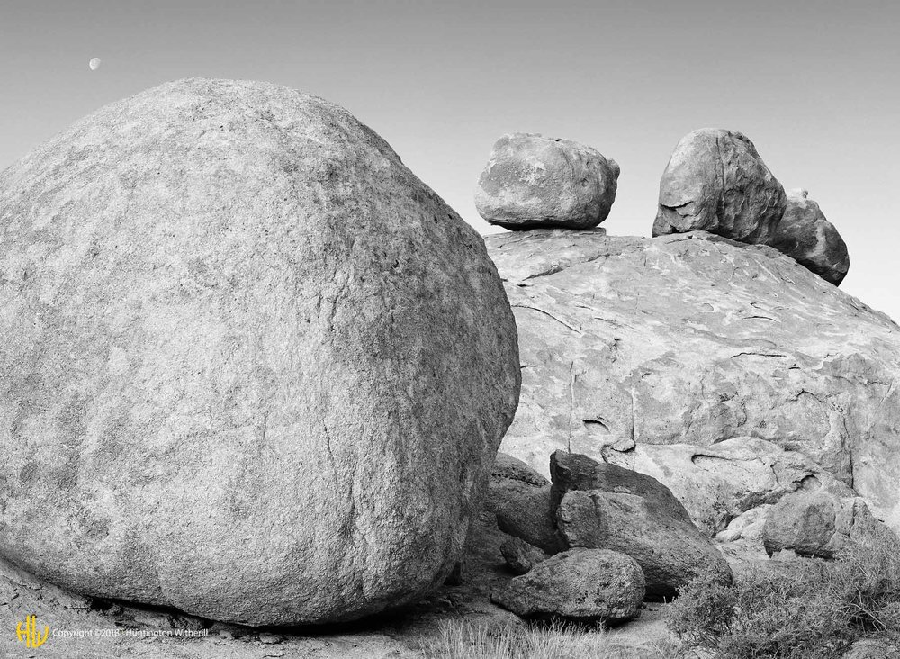 Setting Moon and Boulders, Alabama Hills, CA, 1982