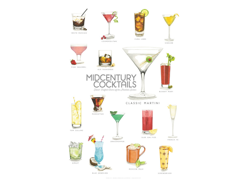 Mid-Century Watercolor Cocktail Poster Design