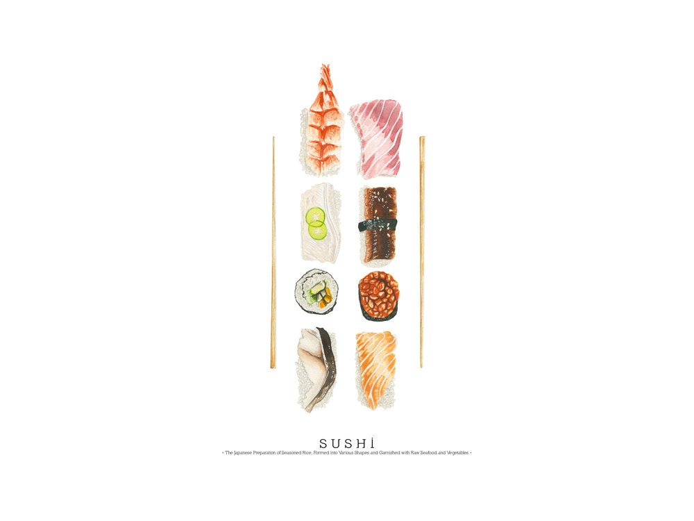 Sushi Platter Print Design