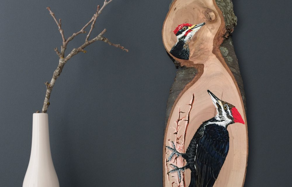 Pileated Woodpeckers Original Fine Art Acrylic Gouache Wood Slab Painting  : Wood Slab Series by Cheryl Oz