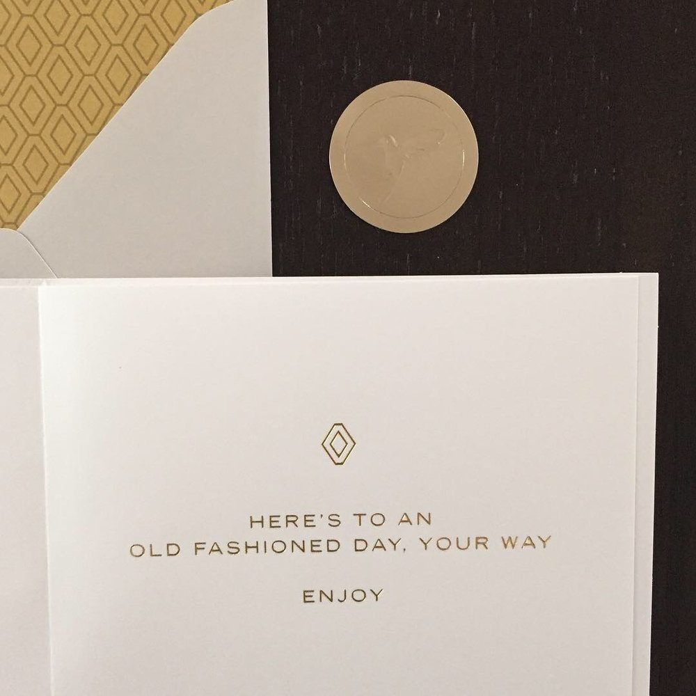 All of the brilliant gold details continue on inside of the card as well.