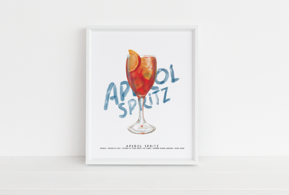Aperol Spritz Cocktail Illustration by Michigan artist - Cheryl Oz