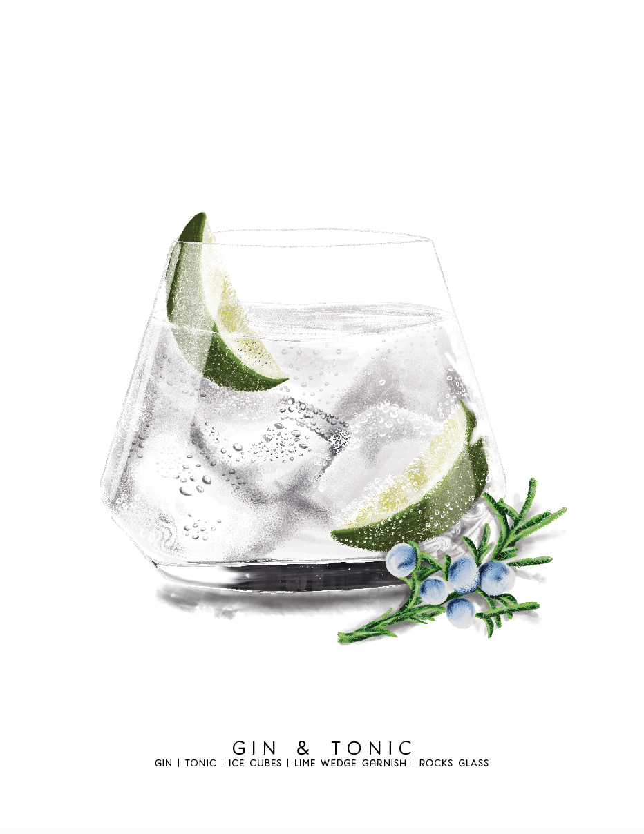 Gin & Tonic Digital Illustration by artist, Cheryl Oz