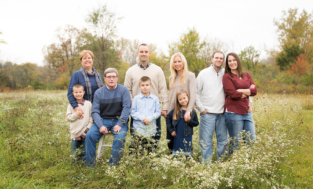 Versailles Ohio, Covington Ohio, Stillwater Prairie Reserve, outdoor family portrait, outdoor family photography, fall family photography, fall portraits, fall pictures, extended family portrait