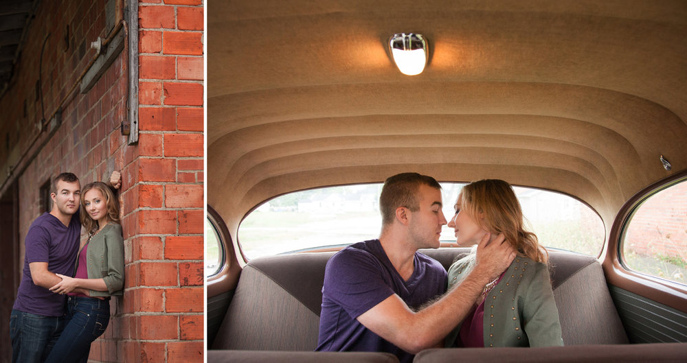 Celina Ohio, urban engagement photography, storytelling photography, romantic engagement photography, vintage car