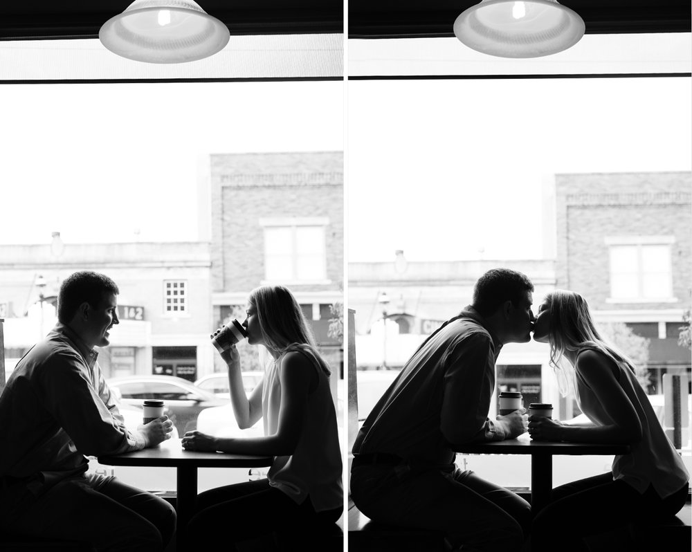 Greenville Ohio, coffee and a date, modern engagement photography, black and white photography, storytelling photography,  The Coffee Pot, lifestyle engagement photography