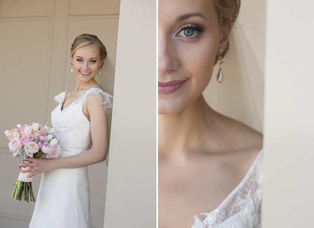 Cincinnati Ohio, Bridal portraits, lace wedding dress, blush pink bouquet, modern bride