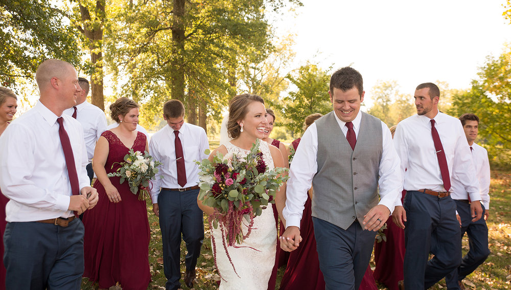 Ft Loramie Ohio, rustic wedding, burgundy dresses, rustic bouquet, wedding party photograph, Earl's Island Pavilion
