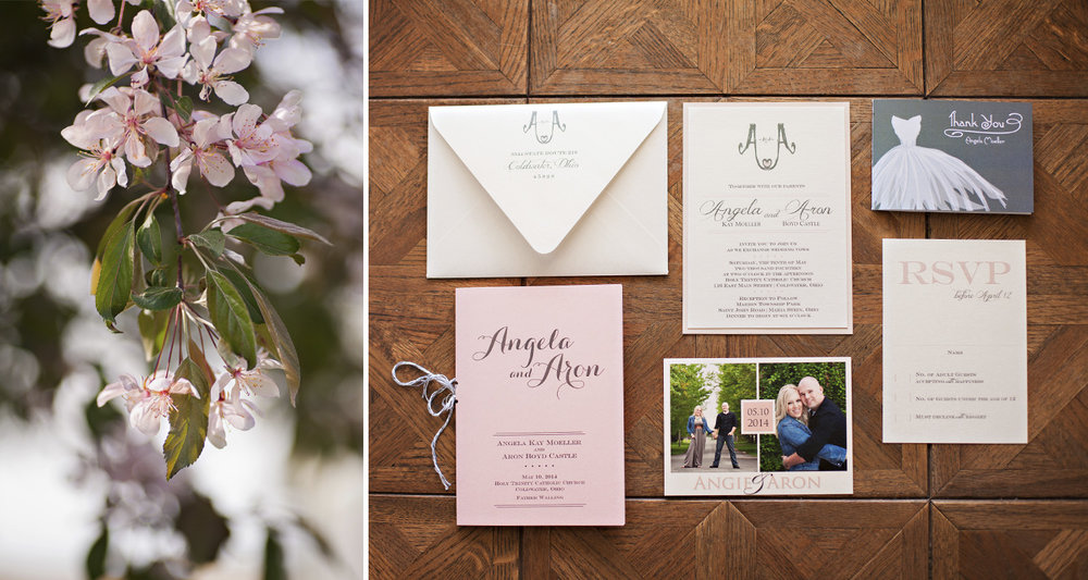 Coldwater Ohio, wedding details, wedding stationery, blush wedding