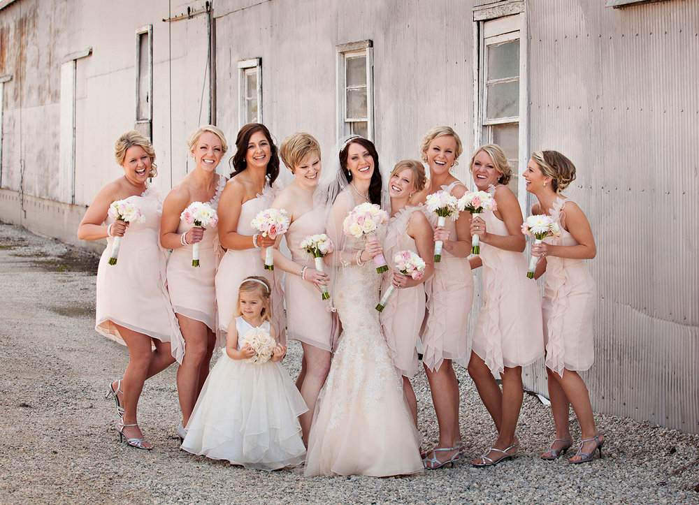 Coldwater Ohio, blush bridesmaids dress, blush pink wedding, modern wedding photography