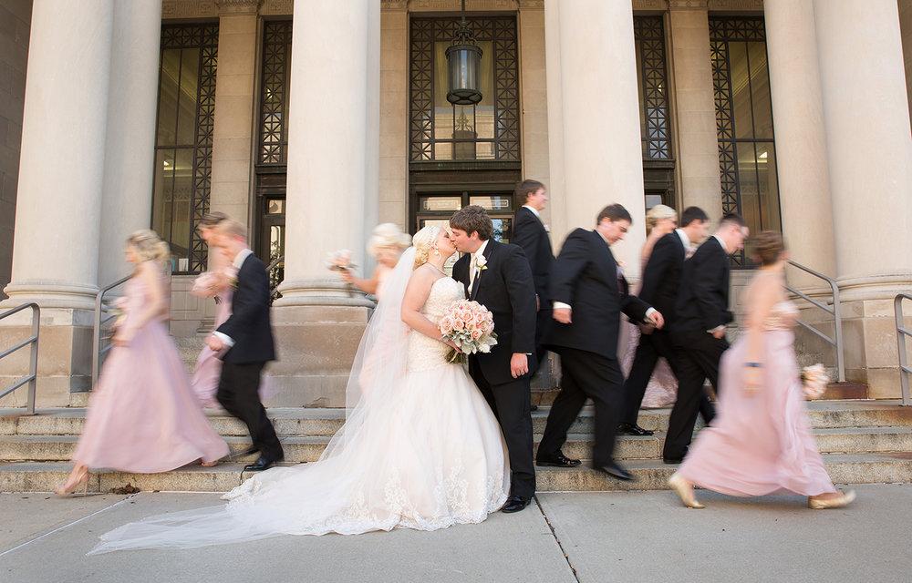 Piqua Ohio, Fort Piqua Plaza, wedding party, storytelling photography, modern wedding photography, blush pink wedding