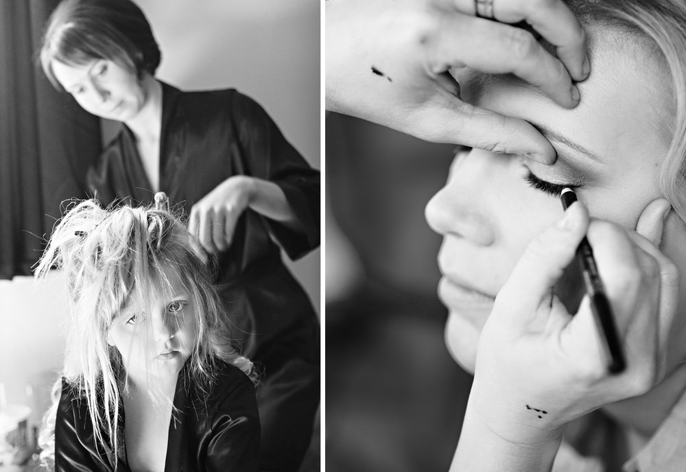 Bellefontaine Ohio, Coldwater Ohio, getting ready, wedding makeup, wedding hair, black and white photography, storytelling photography