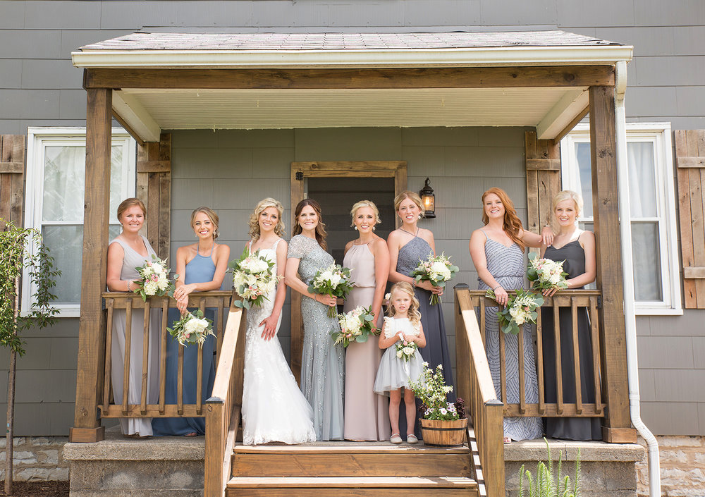 Piqua Ohio, Buckeye Barn, bridesmaids, mix and match bridesmaids dresses, sequin bridesmaids dress, rustic wedding