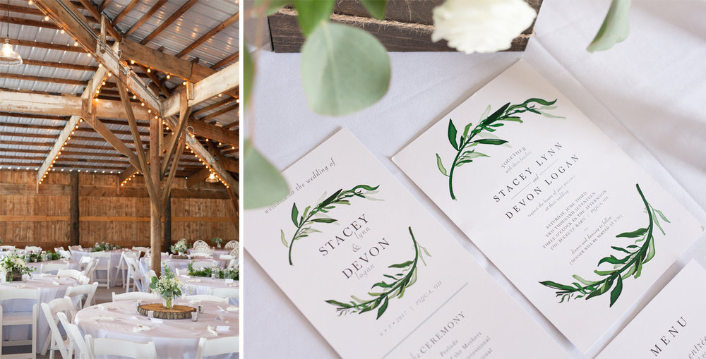 Piqua Ohio, rustic wedding, barn wedding, Buckeye Barn, wedding stationery, wedding details