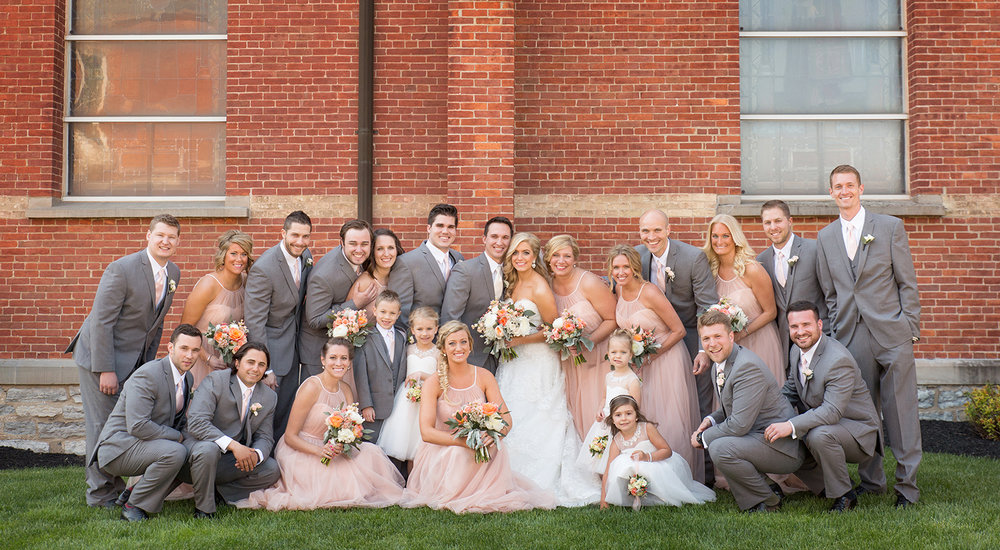 Ft Loramie Ohio, blush wedding, blush pink bridesmaids dress, gray tux, classic wedding photography, wedding party