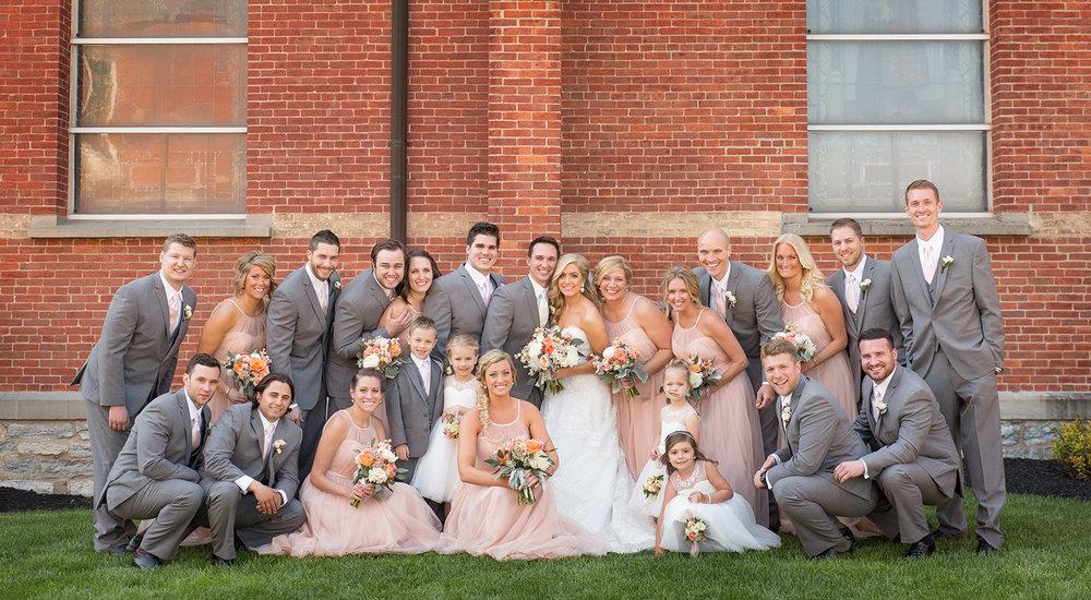Ft Loramie Ohio, blush wedding, blush pink bridesmaids dress, gray tux, classic wedding photography, wedding party