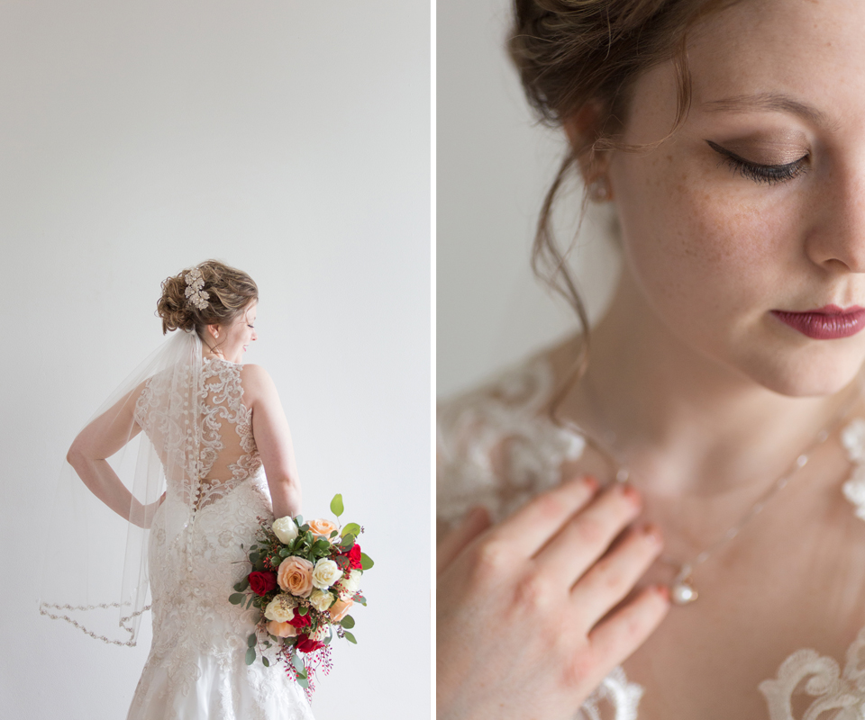 Bridal Dress Shop: Emmy's | Minster, OH Bridal Designer: Allure | lace, illusion dress Florist: Venetian Gardens | Celina, OH