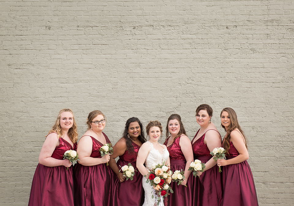 Bridal Dress Shop: Emmy's | Minster, OH Bridal Designer: Allure | lace, illusion dress Florist: Venetian Gardens | Celina, OH Bridesmaid Dress Shop: Emmy's Minster, OH Bridesmaid Designer: Jasmine | sequin, wine-colored dresses