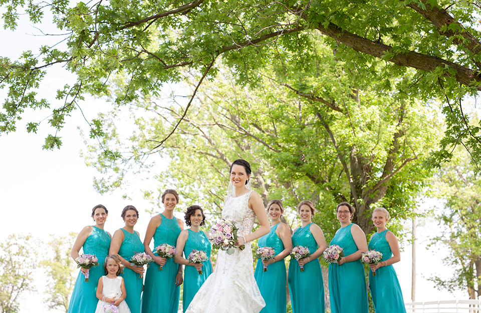 Bridal + Bridesmaids Dresses: Emmy's | Minster, OH Florist: Nature's Reflections | Versailles, OH