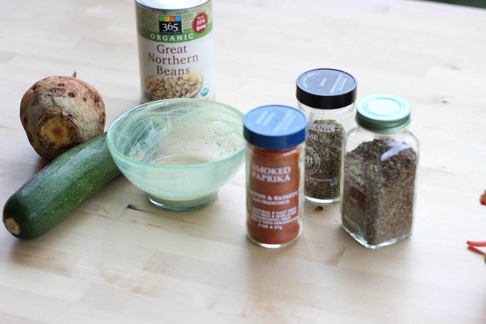 Smoky white bean beet zucchini burgers ingredients2.jpg