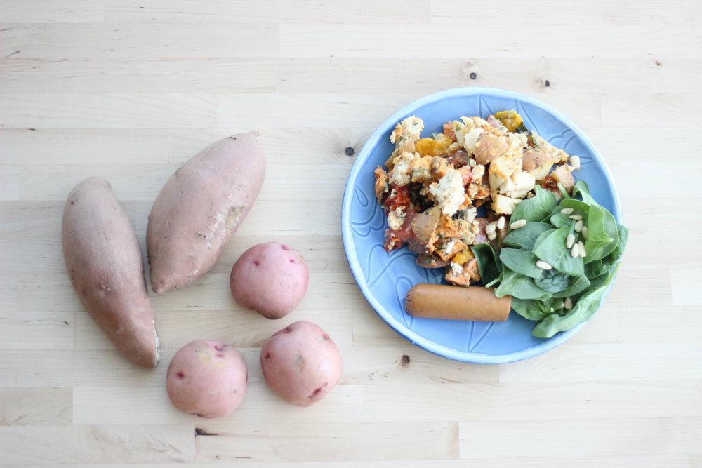 herby potato salad w:sweet potatos.jpg