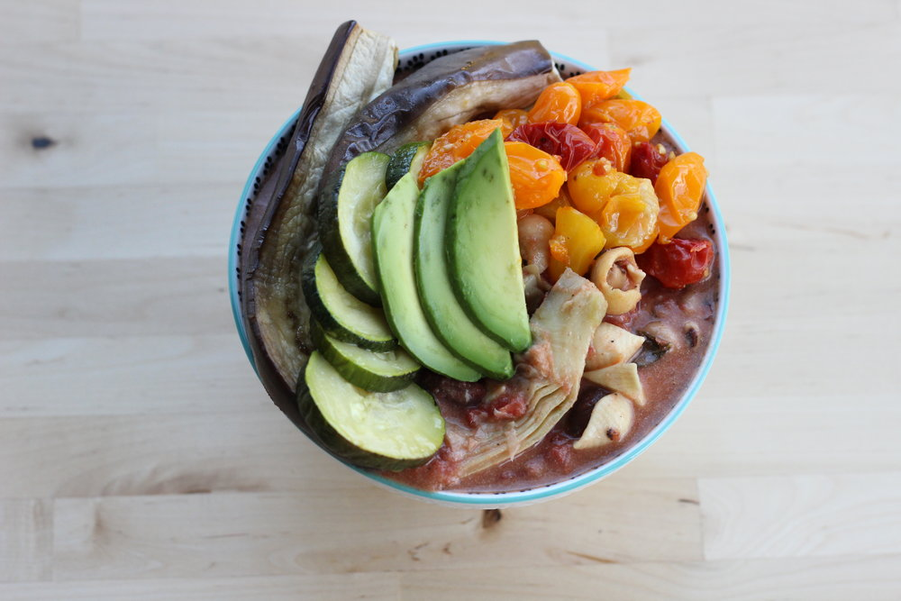 Eggplant zucchini fresh basil cheezy pasta plated rainbow 2.jpg