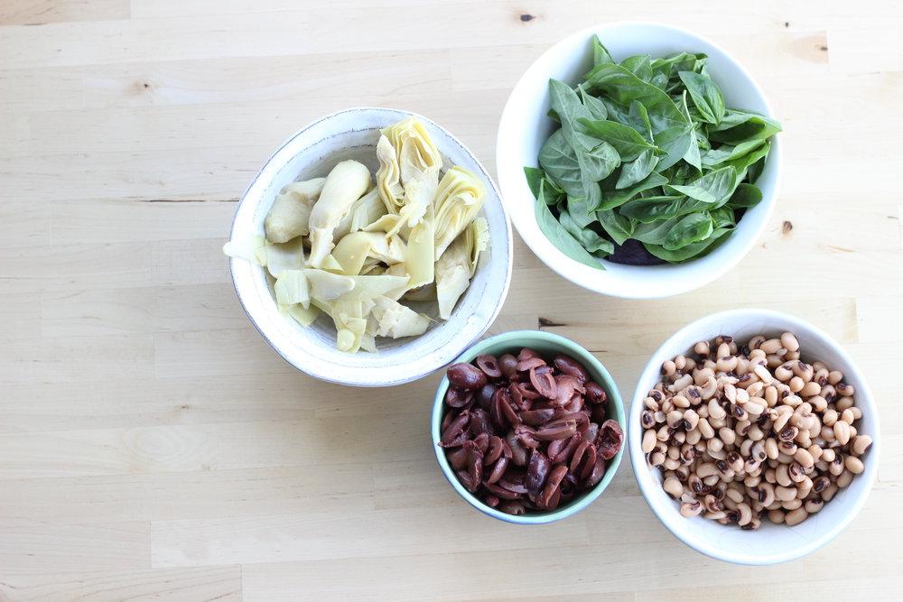 Eggplant zucchini fresh basil cheezy pasta ingredients bowls 2.jpg
