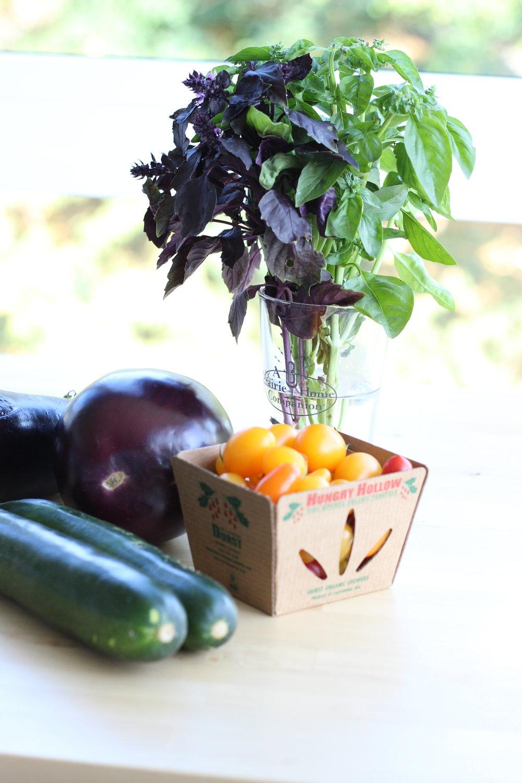 Eggplant zucchini fresh basil cheezy pasta ingredients 4.jpg