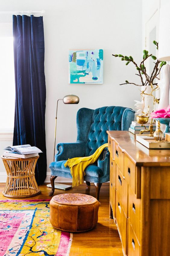 This is great example of colouring your home with accessories