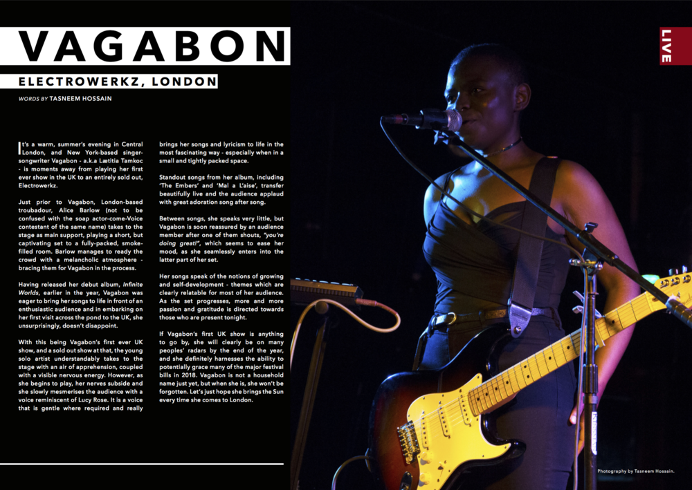 LOCK Magazine, Volume 1, September 2017    Vagabon @ Electrowerkz, review and photo