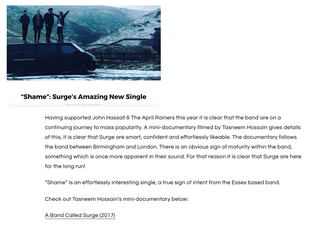 Eudaemonia, online article, March 2017    A Band Called Surge, video feature