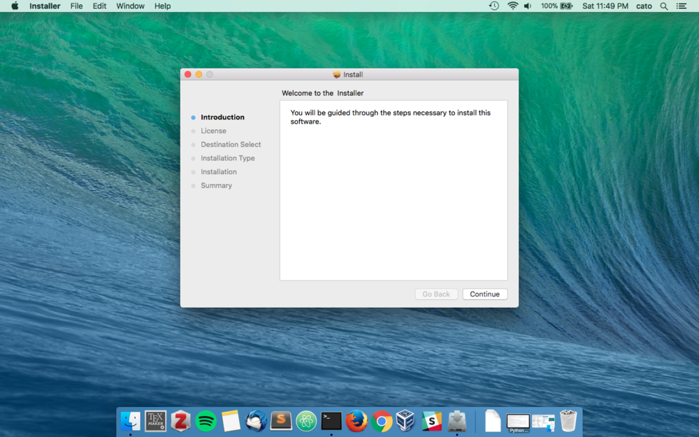 2. Install - Double-click the Solitare installer to open up the install wizard. Click Continue to begin the install.