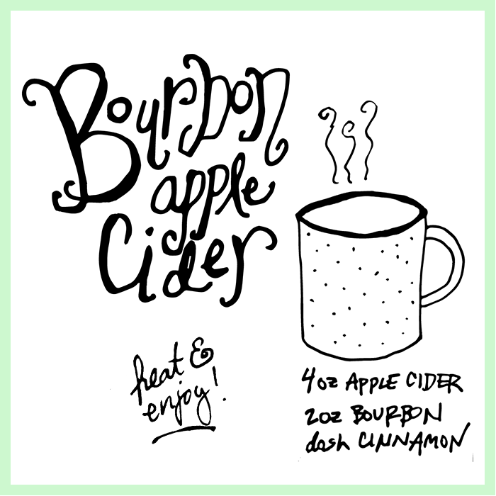 Bourbon Apple Cider on dotted design