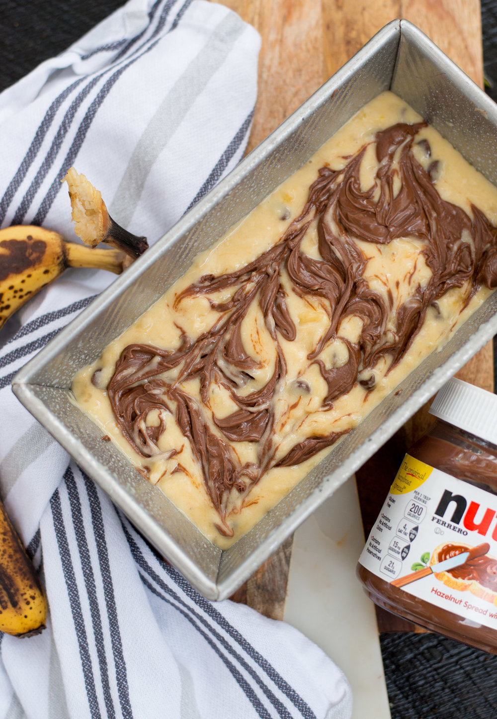 Mixed & Measured | Chocolate Chip Banana Nutella Bread