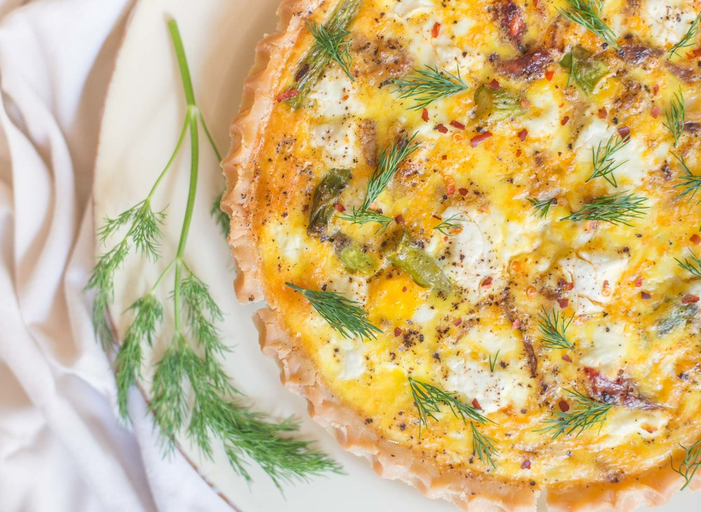 Mixed & Measured | Sun-dried Tomato, Fennel, Asparagus & Goat Cheese Quiche