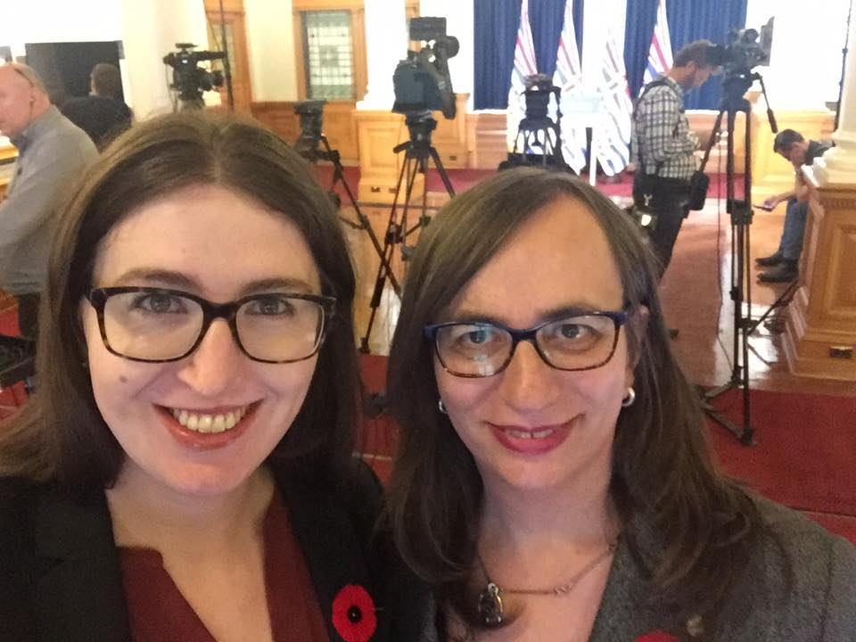 Morgane Oger Foundation Planning Lead Catherine Jenkins (left) and founder Morgane Oger (right) at the BC Legislature on November 1 during a press announcement introducing the BC Human Rights Commission Photo: Catherine Jenkins