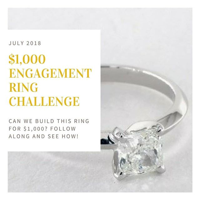 $1,000 Engagement Ring Challenge⠀ ⠀ July is right around the corner and people love getting hitched during the summer months. What if you're a little cash strapped? We're going to show you how to put together a great ring, and hopefully, we can do it right around $1,000.⠀ ⠀ #Diamond #EngagementRing #Ring #Jewelry #Engagement #weddingring #love #wedding #theringadviser #JamesAllen #BlueNile #savemoney