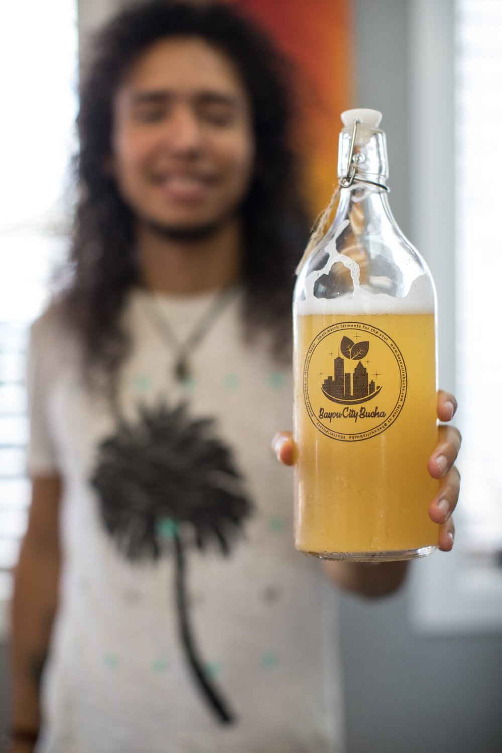 Danny with his small batch, locally brewed kombucha!