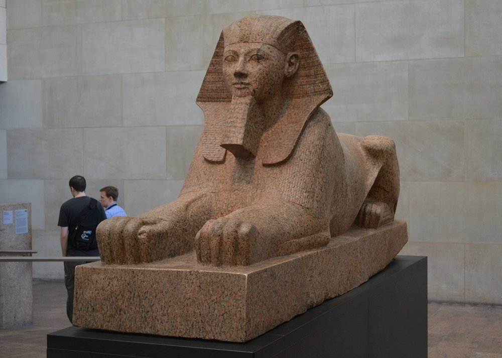 Sphinx of Hatshepsut - Thutmose III ordered all statues be destroyed of her, but pieces of this were found and pieced together.