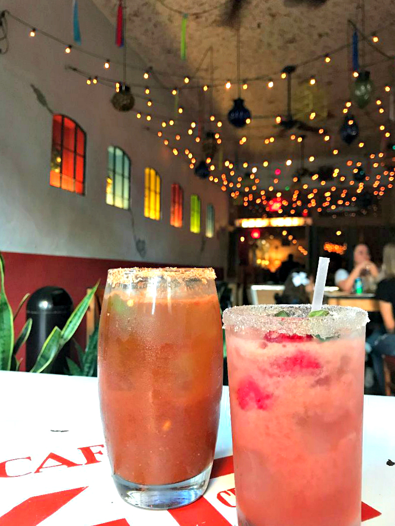 A michelada and strawberry basil margarita at The Pastry War