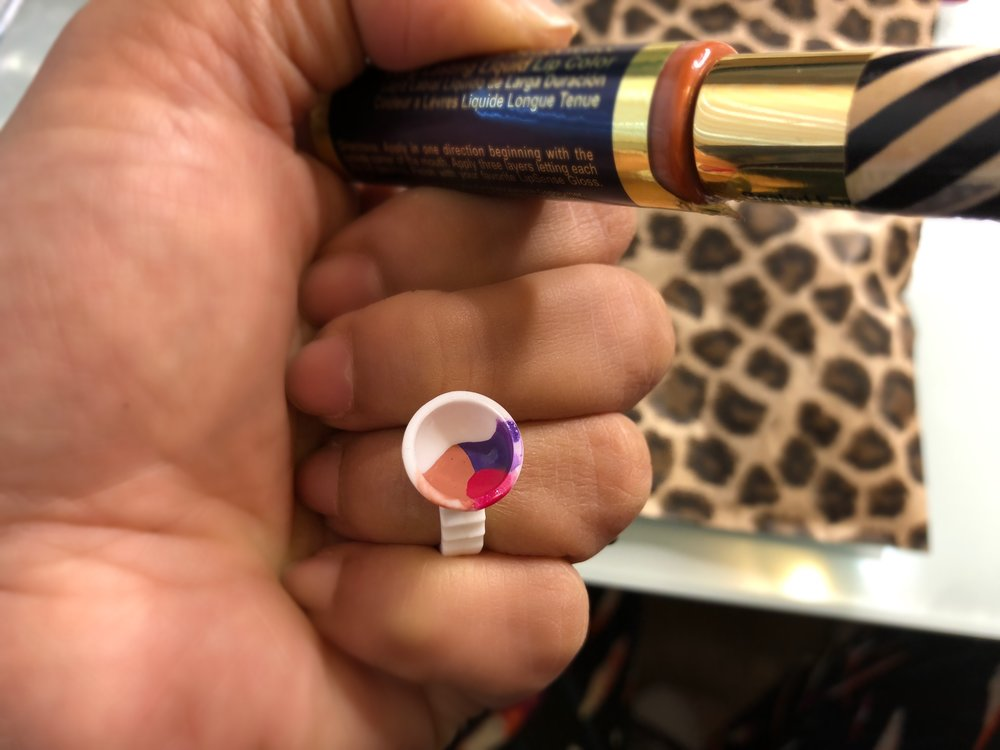 Mixing LipSense Lip Colors Violet Volt Kiss For a Cause and First Love with Ink Pot.JPG